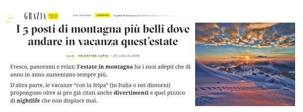 La top 5 dell'estate in montagna 2018 secondo Grazia.