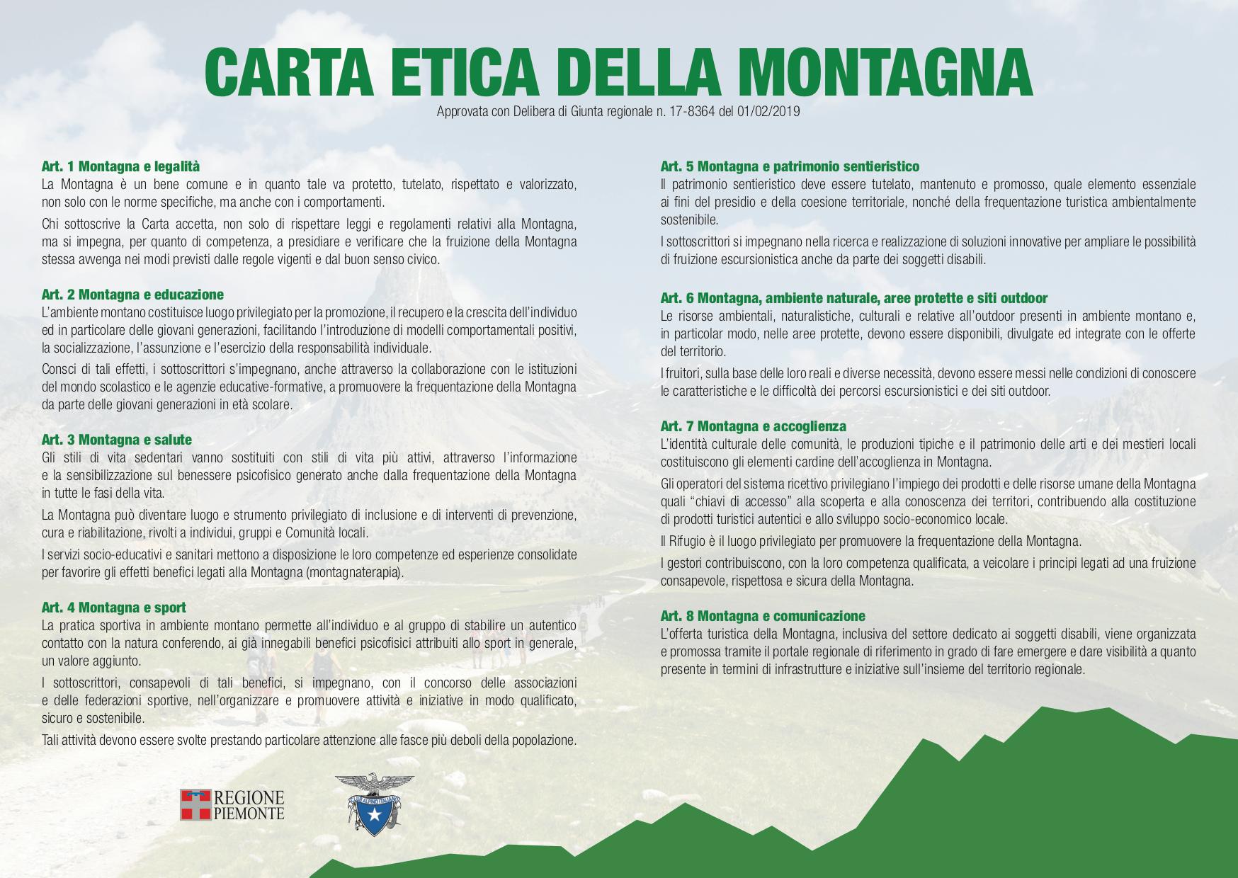 La Carta Etica della Montagna approvata dalla giunta Regionale del Piemonte il 1 febbraio 2019